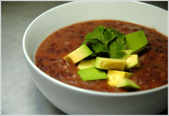 Recipe: Spicy Black Bean Soup and Roasted Brussel Sprouts and Mushrooms on the Side